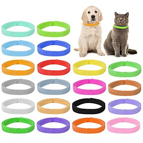 20 Pezzi Collarini Cuccioli, Collare di Identificazione, Collare per Cani, Colori Assortiti Collari, Collari per Cuccioli Regolabili per Animale Domestico Appena Nato Cani Cuccioli Gatti