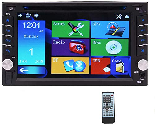Eincar Double Din stereo 6.2 inch Touch Screen Bluetooth Car Radio DVD Player 2 Din GPS Navigation Head Unit Supoort SD/USB/AM/FM/RDS/AUX Steering Wheel Control Remote Control + 8GB Map Card