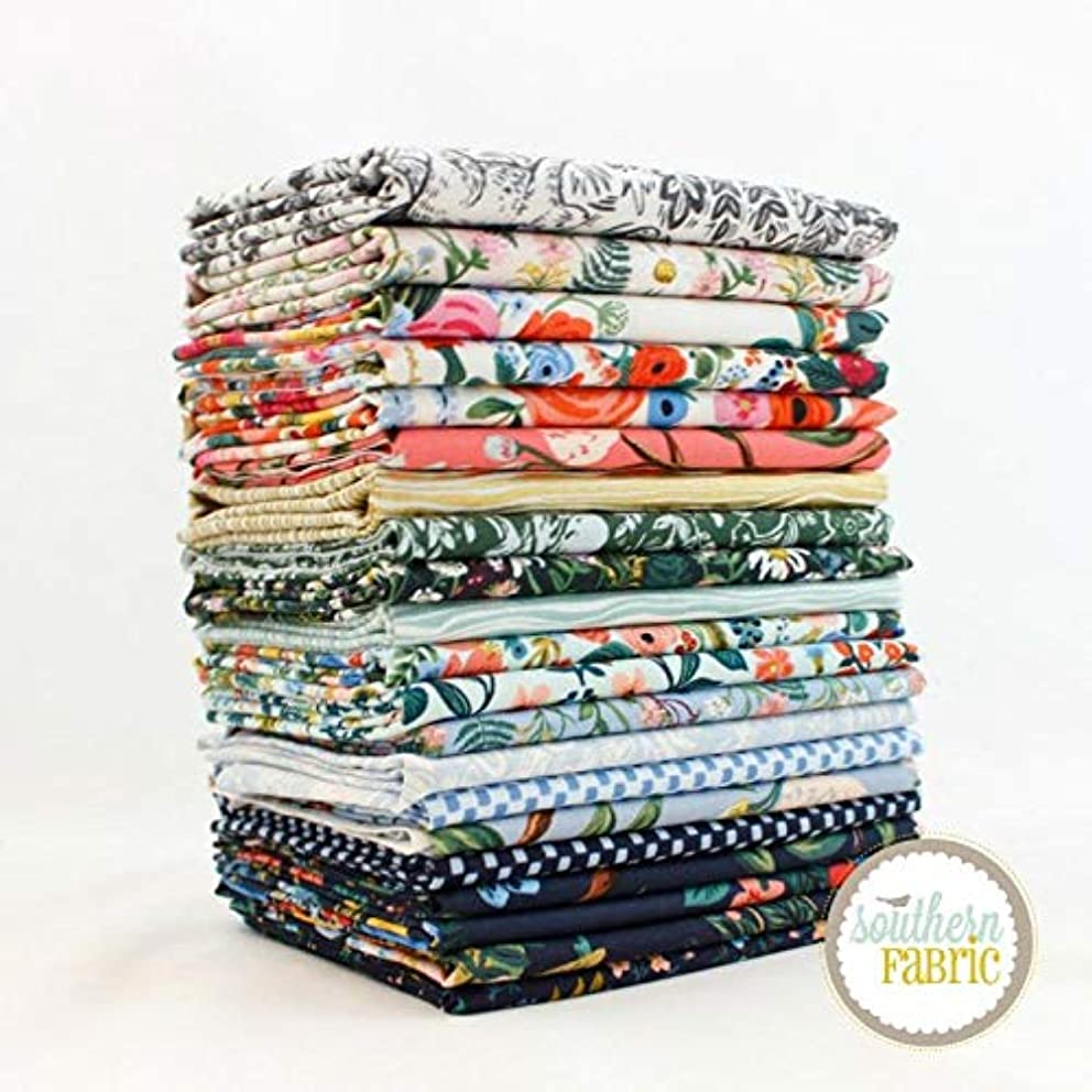 Cotton and Steel Wildwood Fat Eighth Bundle (21 pcs) by Rifle Paper Co 9 x 21 inches (22.86cm x 53.34cm) Fabric cuts DIY Quilt Fabric