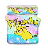 YOMOCO Pikachu Duvet Set Pokemon Quilt 3D Cute Cartoon Pattern Children's Bedding Set de funda de edredón y funda de almohada doble Queen (X03, SuperKing260 x 220 cm)