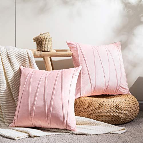 Topfinel Samt Kissenbezüge 50x50cm 2er Set Kissenhülle Gestreift als Dekokissen Sofakissen mit Verstecktem Reißverschluss für Sofa und Terrasse Büro Pink