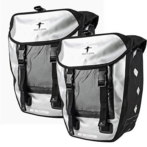 Red Loon 2 x Pro robuste Fahrradtasche aus LKW-Plane – wasserdichte Doppelpacktasche für Gepäckträger in Silber