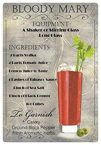 Metalen bord 20x30cm Cocktail recept Bloody Mary Wodka Tomato Tabasco bord