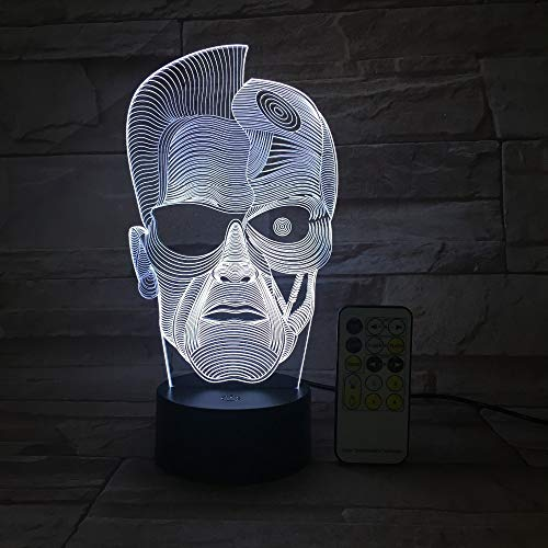 KangYD 3D Night Light Halloween Skull Man, LED Optical Illusion Lamp, D - Remote Crack White(16 Color), Atmosphere Lamp, Colorful Lights, Valentines Gift, Gift for Child, Warm Lamp, Gift for Boy
