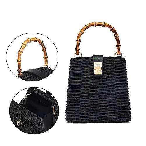 Natural Hand-Woven Rectangular Wicker Handbag Basket Purse Retro Summer Women Straw Tote,Black