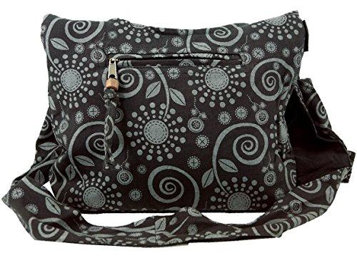 GURU SHOP Sadhu Bag, Shopper, Kleiner Schulterbeutel - Schwarz, Herren/Damen, Baumwolle, Size:One Size, 20x30x10 cm, Alternative Umhängetasche, Handtasche aus Stoff