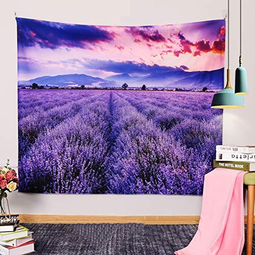 Medida Lavendel-bloementapijt, bloemenveld-wandtapijt, lila, plant, decoratie, hangdoek, meisjeskamer, slaapkamer, woonhuis, decoratie, strandhanddoek, raamdecoratie
