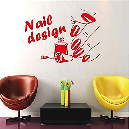 Nail Art Design Beauty Salon Serie Muursticker Vrouw Hand & amp; Nageldesign Manicure Ladentürr & amp; Raam Art Wanddecoratie 56x42cm