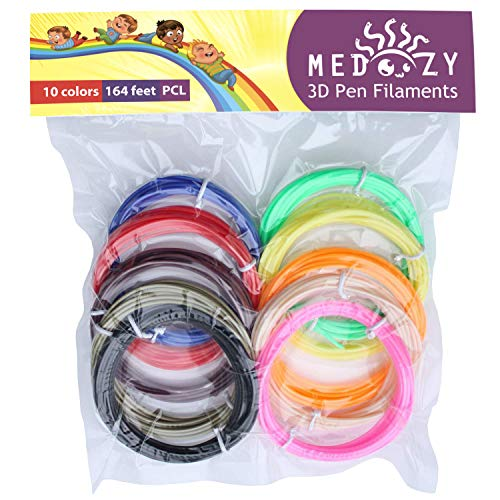 MeDoozy 3D Filament - PCL Filament 1.75mm - 3D Printer Filament 3D pen Refill - Eco 3D Pen Filament Refills - Odorless 3D Doodler Refills - Kids Safe 3D Printing Filaments - 10 Colors 5 meters each