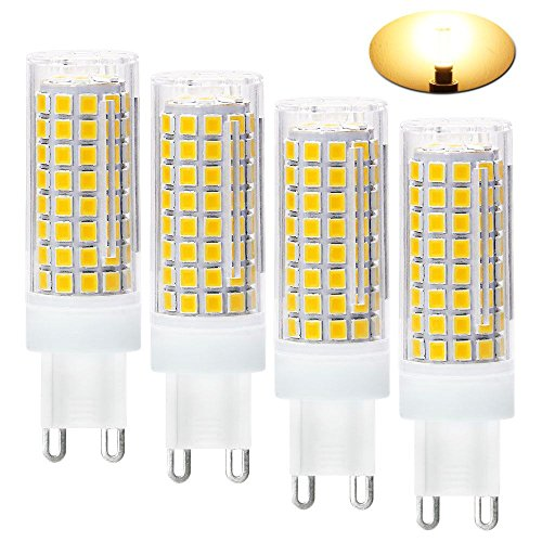G9 LED Light Bulbs?8W?75W 100W Replacement Halogen Bulbs Equivalent 850lm,Dimmable g9 led Bulbs AC110V 120V 130 Voltage Input,G9 Bi-Pin Base Corn Bulb?G9 Base?Warm White 3000K(Pack of 4)