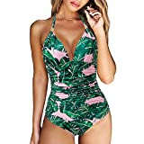 RXRXCOCO Women V Neck One Piece Swimsuits Tummy Control Ruched Swimwear Halter Bathing Suit Green Leaf-2 X-Large