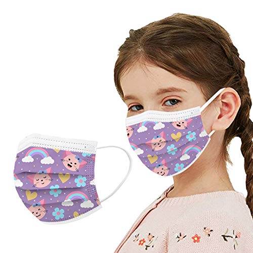 Cute Disposable Face_mask for Girls Kids Cartoon Rainbow Printed Face_mask for Coronɑvịrus Protection with Nose Wire Breathable 3 Layers Thick Non-woven for School Daily Use (Z10)