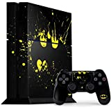 Skinit Decal Gaming Skin Compatible with PS4 Console and Controller Bundle - Officially Licensed Warner Bros Batman Logo Yellow Splash Design