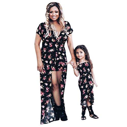 Bekleidung Kleid AMUSTER Damen Mädchen Kleid Mutter und Tochter Kleider Blumendruck Sommerkleid Familie Kleidung Boho Strandkleid Maxi Kleid (XXL, Mutter)