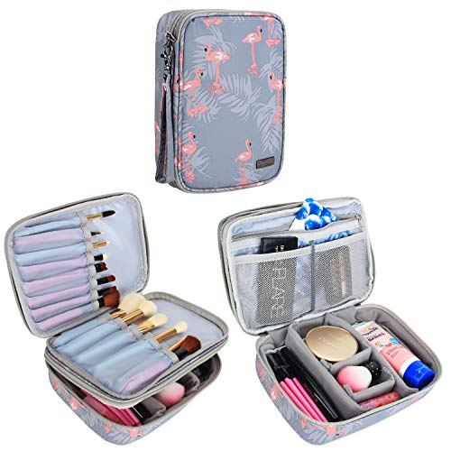Teamoy Travel Makeup Brush Case(up to 8.8'), Professional Makeup Train Organizer Bag with Handle Strap for Makeup Brushes and Makeup Essentials-Medium, Flamingo(No Accessories Included)