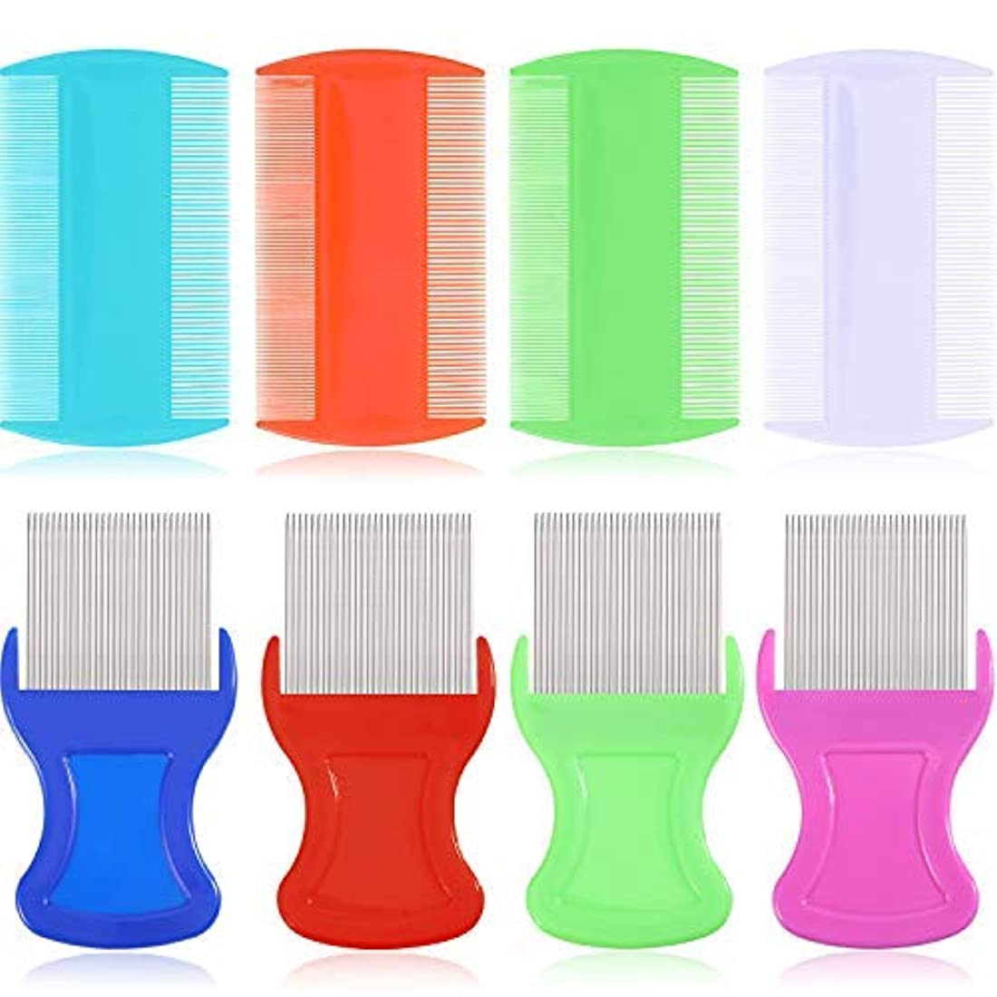 チート急降下メイエラ8 Pieces Flea Lice Comb Lice Removal Combs Include 4 Pieces Nit Remover with Metal Teeth and 4 Pieces Double Sided Teeth Combs for Hair and Heads [並行輸入品]