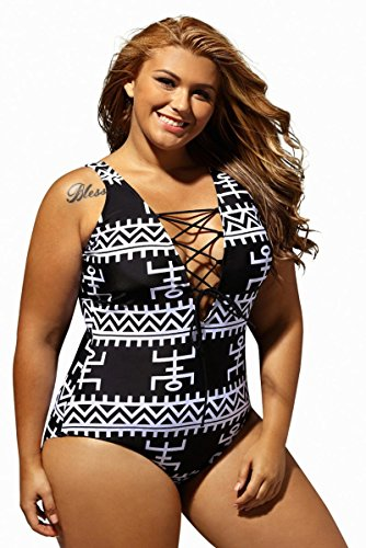 Women's Sexy Print Lace Up V Neck One Piece Swimsuit Monokini Swimwear Bathing Suits Plus Size, Black, XXXX-Large