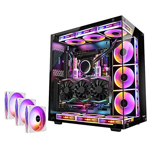 BBNB Caso De Juego, Mid-Tower PC Funda De Juego ATX/M-ATX/Mini-ITX - Frente E/S USB 3.0 Puerto - Vidrio Templado - 9 Posición del Ventilador - Readía De Agua (Size : 3 Fan)