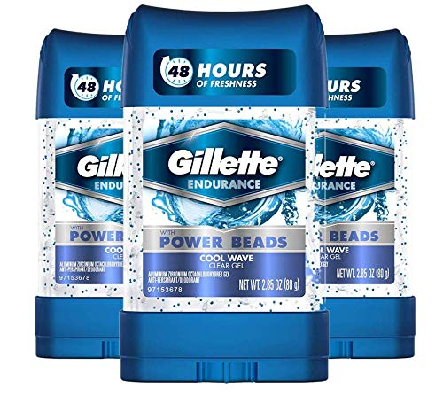 Gillette Antiperspirant Deodorant for Men, Cool Wave Scent, Clear Gel Power Beads , 2.85 oz (pack of 3)