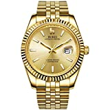 Best BUREI Automatic Watches - BUREI Mens Luxury Automatic Watches Full Gold Dial Review