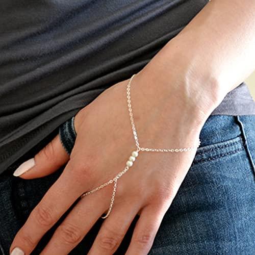 Kangzhiyuan Schlichtes Gold Silber Farbe Kette Imitation Perlen Sklave Armband für Frauen Mädchen Charms Finger Link Kette Armbänder & Armreif (Metallfarbe: Silber)