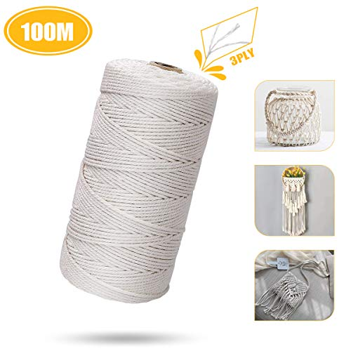 Cotton Cord 100M, Cotton Rope Natural, Cotton Thread Ø2mm & Cotton String for Knitting Macrame, Sewing, DIY Hangers, Decorative Crafts, Plants Wall Hangings, Handmade Lace Wedding