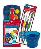 Faber-Castell 125001 - Farbkasten Blau Connector, 12 Farben (12er Farbkasten, Pinsel & Wasserbecher)
