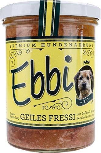 Wuff & Mau Bio Hundefutter Geiles Fressi mit Geflügel, Hähnchen, Fenchel und Zucchini 400g Glas/Ebbi Hundenahrung im wiederverschließbarem Glas