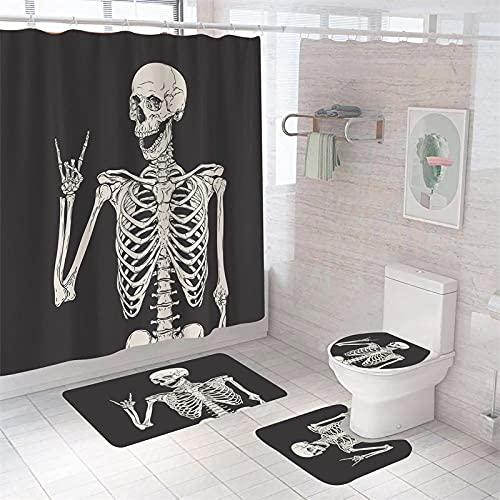 Ensemble de Rideau de Douche 4 pièces,Crâne créatif Beige Noir Rideau de Douche imperméable, Housse de siège de Toilette, Tapis de Contour,avec 12 Crochets