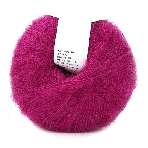 Hilo de Tejer A Mano de Lana de Angora Larga de Fibra de Mohair Suave Multicolor Popular Para Tejer Bufandas