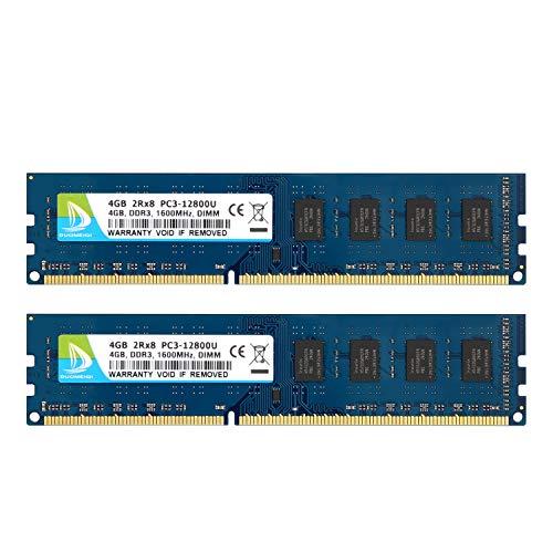 DUOMEIQI DDR3 RAM 8 GB Kit (2 x 4 GB) PC3 12800 UDIMM DDR3 1600 MHz RAM PC3-12800U CL11 1,5 V 240 Pin Nicht-ECC ungepuffert 2RX8 Dual Rank Desktop Speichermodul für Intel AMD