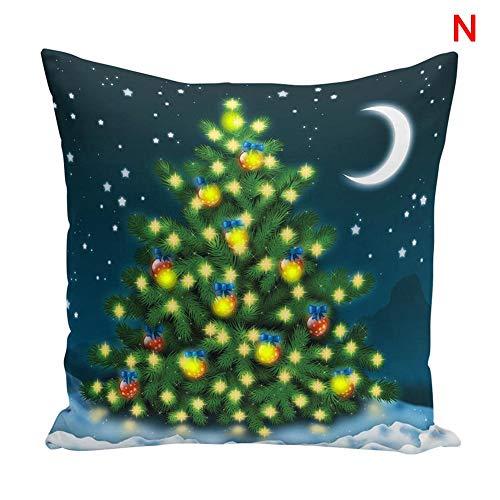 feeilty Vrolijke Kerstmis Kussenslopen, Kussensloop LED oplichten 45x45cm Zachte Kerstmis afdrukken Decoratie voor Office Car Cafe