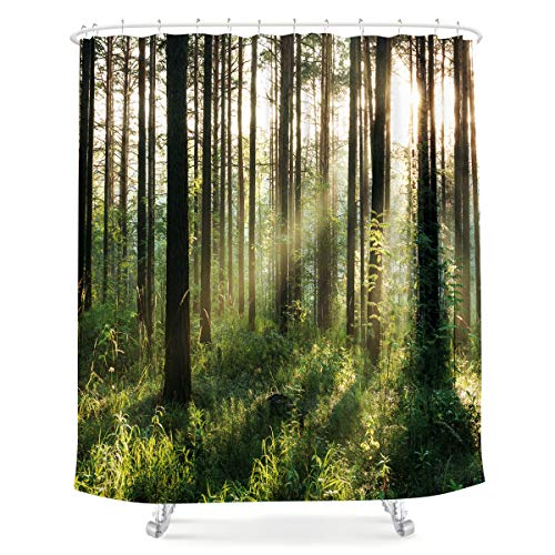 LIGHTINHOME Nature Forest Shower Curtain Bright Sunshine...