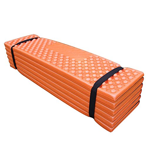 Metermall Home Ultralight Foam Outdoor Camping Mat Easy Folding Beach Tent Sleeping Pad Waterproof Mattress 190 x 57 x 2 cm Orange 190 * 57 * 2CMOrangeDark greenredblue