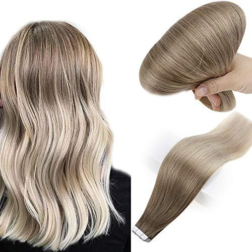 Easyouth Haar Verlängerung Tape Blonde Tape in Hair Extensions 14zoll 20 Stück 40g Aschbraune Mischung mit Blond Extensions Tape on Echthaar Klebestreifen Doppelseitig