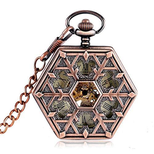 Yxxc Reloj de Bolsillo Copo de Nieve Especial Diseño de Forma Hexagonal Números Romanos Dial Vintage Mecánico De Cuerda Manual Fob Hombres Mujeres Cadenas de Reloj de Bolsillo (Color: Bronce)