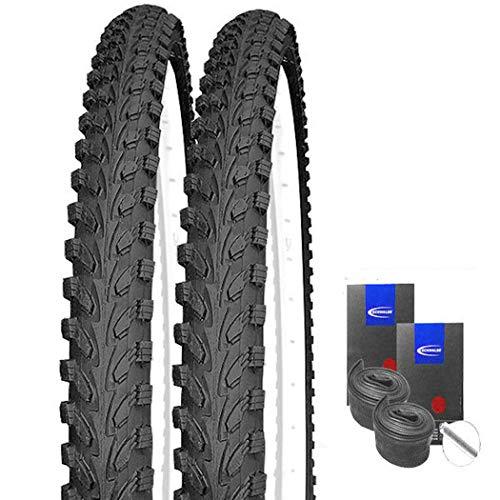 KENDA Set: 2 x K898 schwarz MTB Reifen 26x1.95 + Schwalbe SCHLÄUCHE Autoventil