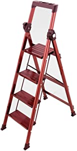 M-Y-S Step Ladder  Lightweight Folding Step Stool Ladder with Handgrip Tool Storage Anti-Slip Sturdy and Wide Pedal Use for Household and Office Portable Stepladders Steel 330lbs  Color Red