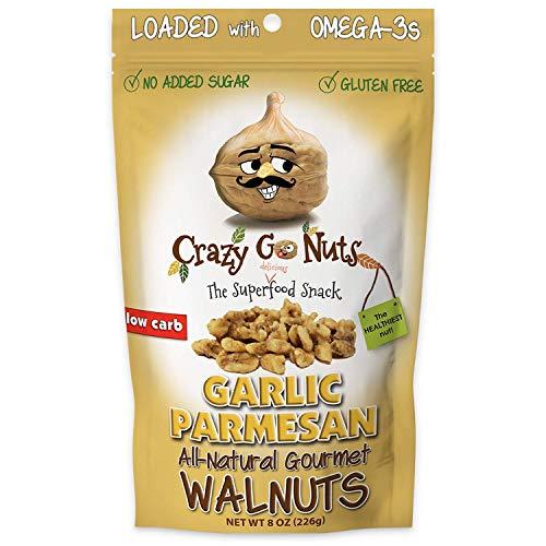 Crazy Go Nuts Walnuts - Garlic Parmesan, 8 oz (1-Pack) - Healthy Snacks, Keto, Low Carb, Gluten Free, Superfood - Natural, ALA, Omega-3 Fatty Acids, Good Fats, and Antioxidants