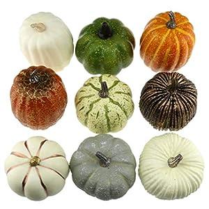 gresorth 9 pcs fake pumpkins artificial vegetables for home party halloween christmas decoration silk flower arrangements
