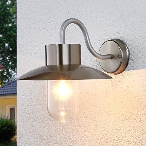 Lindby Wandleuchte außen 'Leenke' (spritzwassergeschützt) (Modern) in Alu aus Edelstahl (1 flammig, E27, A++) - Außenwandleuchten, Wandlampe, Außenlampe, Wandlampe für Outdoor & Garten