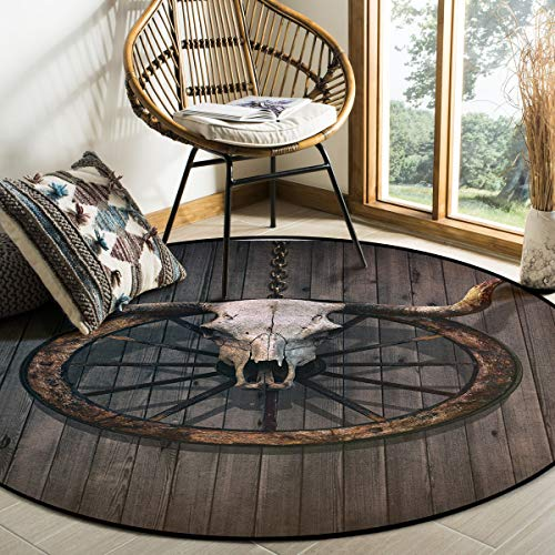 OUR DREAMS Round Area Rugs Children Crawling Mat Non-Slip Mat,Barn Rustic Wall Residential Carpet for Living Dining Room Kitchen Rugs Decor,Long Horned Bull Skull and Old West Wagon Wheel,5Ft(60In