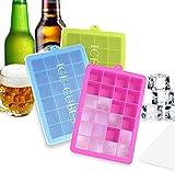 BSET BUY 3 Stück Eiswürfelform Silikon Eiswürfel Form Eiswürfelbehälter Eiswürfelbereiter mit Deckel Ice Tray Ice Cube 24 Fächer, Kühl Aufbewahren BPA frei