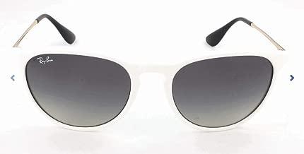 RAY-BAN RB4171 Erika Round Sunglasses, Shiny White Red/Grey Gradient, Grey Gradient