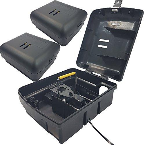 PROHEIM 2X Köder-Station mit Einer Schlag-Falle für Mäuse Köder-Box + passende Snap Mausefalle Mäuseköderbox für Giftköder oder Mäusefallen