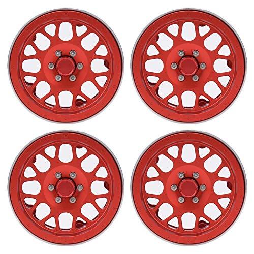 JYLSYMJa Cubo de Llantas de Rueda de Coche RC, Cubo de Llantas de aleación de Aluminio de 2,2 Pulgadas Accesorios de llanta de Rueda de vehículo RC para Coche 1/10 RC Rojo Plata(Rojo)