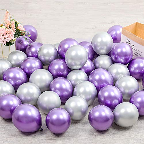 100pcs 5inch Tiny Purple Silver Chrome Metallic Latex Balloons for Birthday Party Bridal Baby Shower Engagement Wedding Party Decorations (Purple Silver)