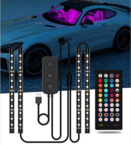MUSJOS Car Led Strip Lights Interior, Neon El Wire Lights With Usb Adapter For Interior Car Lights Underglow, 8 Pods Neon Ambient Light With Remote/App Control, 2 Lines Design, Dc 12V