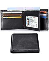 Mens Wallet RFID Genuine Leather Slim Bifold Wallets For Men Removable ID Windows 11 Cards Holders Gift Box (171 Black)