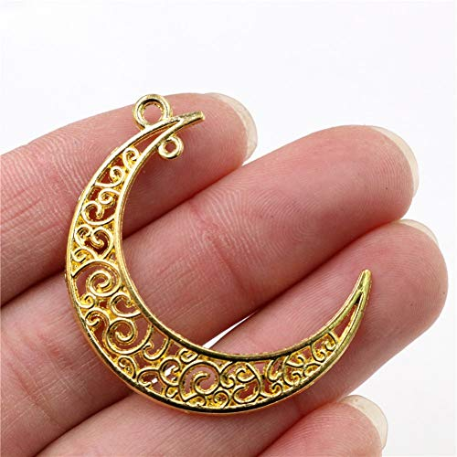 GMYANED 41X30Mm 10Pcs 5 Colors Plated Moon Style Handmade Charms Pendantdiy for Bracelet Necklace